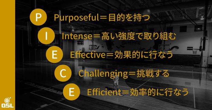 """効果的な練習のための5つの""""P・I・E・C・E"""""""